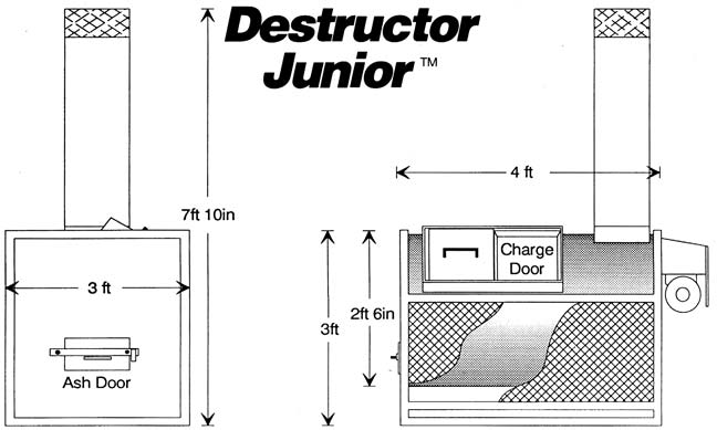 Destructor Junior poultry incinerator drawings.